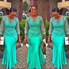 Green Long Sleeves Evening Gowns Sheer Neck Lace Appliques Beads Mermaid Prom Dress African Plus Size Party Dress Formal Vestidos African Evening Dresses, African Print Dresses, Mermaid Evening Dresses, African Fashion Dresses, African Dress, African Prints, Ghanaian Fashion, Nigerian Fashion, Ankara Dress
