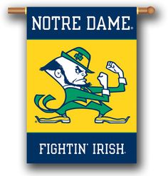 "NCAA Notre Dame 2-Sided 28"""" X 40"""" Banner W/ Pole Sleeve a"