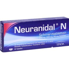 NEURANIDAL N Schmerztabletten:   Packungsinhalt: 20 St Tabletten PZN: 01809034 Hersteller: STADA GmbH Preis: 2,48 EUR inkl. 19 % MwSt.…