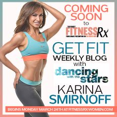 COMING SOON! We are thrilled to announce that beginning next week, Dancing with the Stars Karina Smirnoff will have an exclusive fitness blog with FitnessRx! Make sure to check out Karina on the season premier of DWTS TONIGHT on ABC Television Network at 8pm EST and VOTE for Karina & her partner Sean Avery! To vote, call 1-800-868-3404, text the word VOTE to 3404 or go to ABC.com. Phone voting opens during the show and lasts until 11PM EST!