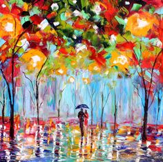 Original oil painting Abstract Rain on canvas Landscape palette knife modern texture fine art impressionism by Karen Tarlton