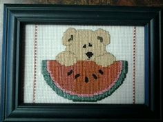 Teddy bear with watermelon slice. 4X6
