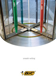 So I associate the pen and different soft things,and I think revolving door.  The revolving door is very soft. So I associate the pen and revolving door. When people go through a revolving door, they can think that the Bic pen is soft.  I wanted to make it simple. So I just attach the pen image to the revolving door.  What I did was just  attach the pen image to the revolving door. But beholders can imagine the AD's meanings that the Bic pen is soft.