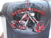 American Chopper's Black Widow chopper on a charcoal extra large (XL) tee shirt w/free shipping