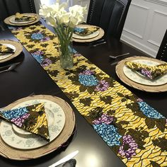 This beautifully vibrant table runners will make any space feel alive! All the colors and designs are sure to bring a little bit of Africa to any space. Made with cotton AnkaraFully lined with blue fabric for a sturdy and strong piece. African Accessories, African Home Decor, Printed Curtains, Blue Green, Yellow, Blue Fabric, Event Decor, All The Colors, Table Runners