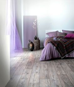 love the floors and soft purple accents