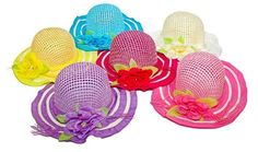 6 Piece Girls Tea Party Flower Sunhats. Assorted Colors by Lil Princess. $42.75. 6 Hats per order is Assorted Colors. Beautiflully adorned with Matching Flower and Ribbon. Will fit girls Ages 3-7. Great for tea party Dress up and fun.. This adorable tea party is perfect for a tea or garden party. You little ones will look picture perfect and have dress up party memories to last a lifetime.