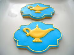 Oh Sugar Events: Cookie Quickie: Genie Lamps Cookies For Kids, Fun Cookies, Cupcake Cookies, Heart Cookies, Iced Cookies, Royal Icing Cookies, Sugar Cookies, Aladdin Birthday Party, Aladdin Party