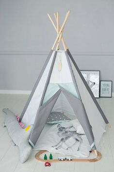 SET! Kid's teepee, girl's wigwam, children's tent mint & gray, Kids teepee play tent and wigwam