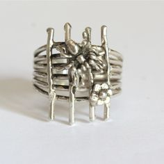 Adjustable Sterling silver Spider and daisy on web by zulasurfing, $85.00