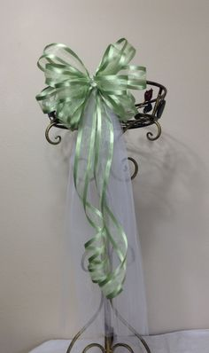 Green and White Wedding Bow - Wedding Bows - Church Bow - Pew Bows - Chair Bow by BasketsFromAtoZ on Etsy Wedding Chair Bows, Wedding Pews, Bow Wedding, Wedding Chairs, Wedding Table, Wedding Gifts, Pew Bows, Gift Bows, Plant Hanger