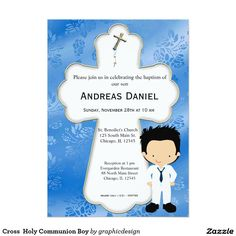 Sold. #Cross  #HolyCommunion #Boy #Invitation #christening #roses Available in different products. Check more at www.zazzle.com/celebrationideas