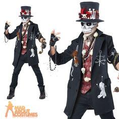 Black Magic Halloween Fancy Dress Dark Arts Voodoo Costume Men Ladies Couples