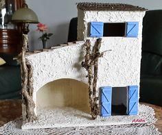 Maison de village pour la crèche de Noël Isometric Art, Frame, Diy, Home Decor, Little Cottages, Village Houses, Corrugated Fiberboard, Crafts, Cartonnage