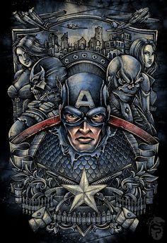 Shirt Design: Captain America by KRISTOVAL ART, via Behance