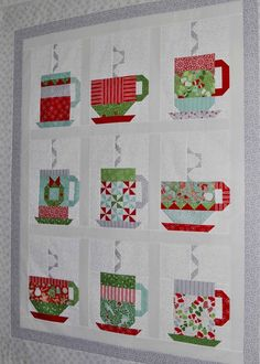 Hot Chocolate Quilt. Free pattern. Table runner and placemats aldo