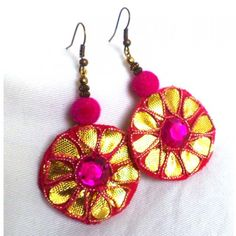 Fuschia Gota work earrings
