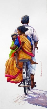 Out for a ride Indian Drawing, India Painting, Indian Art Paintings, India Art, Indian Artist, Sketch Painting, Illustrations, Pictures To Draw, Watercolor Paintings