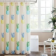 image of HipStyle Kona Printed Shower Curtain in Yellow