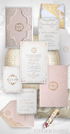 Laser cut lace inspired wedding invitation with gold and blush colors. A gorgeous, classic yet romantic look for a wedding in Washington DC by Atelier Isabey Laser Cut Invitation, Wedding Invitation Envelopes, Laser Cut Wedding Invitations, Wedding Invitation Design, Invites, Bohemian Chic Weddings, Pink Weddings, Wedding Planning Inspiration, Vineyard Wedding