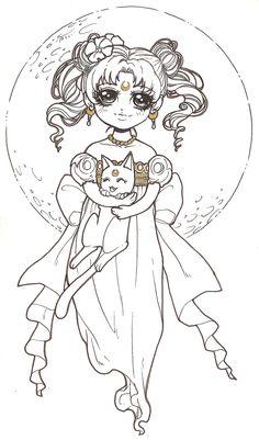 coloriage de Dar-Chan Sailor Moon serenity. Imprimer image noir&blanc, coloriez ce dessin anti stress et relaxez. Free adult colouring page!!