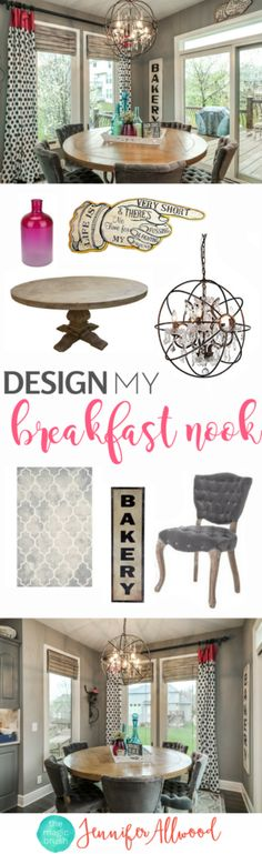 Breakfast Nook Decorating Ideas +Breakfast Room + Eating Area + Kitchen Decor by Jennifer Allwood