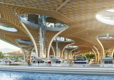 Image 22 of 32 from gallery of Vincent Callebaut Imagines Hyperbolic Shaped Forest Suspended Over River in Seoul. Photograph by Vincent Callebaut Architectures Green Architecture, Concept Architecture, Architecture Details, Canopy Architecture, School Architecture, Vincent Callebaut, Timber Buildings, Renewable Sources Of Energy, Manta Ray