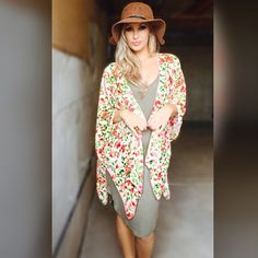 ✨LAST ONE✨3/4 Sleeve Floral Kimono/Swim Cover Up Super cute kimono. Light weight material. ONESIZE ONLY. Paired up with Basic Olive Dress.  (Fits standard S-L) If you have any questions, please feel free to ask 😊 #PoshOnLadies! Bohemian Sea Swim Coverups