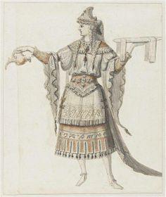 """Recueil """"Costumes des Fêtes, Mascarades - Théâtre de Louis XIV"""" - Jean I Bérain (1640-1711) - Projet de costume – Paris, Musée du Louvre"""
