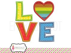 LGBT love applique embroidery design. LGBT embroidery. Rainbow | Etsy