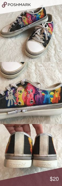 "Custom My little pony zip up sneakers Adorable ""My Little Pony"" custom converse style shoes with Pinkie Pie, Rainbow Dash, Fluttershy, Apple Jack, Twilight Sparkle and Rarity. Unisex. The tops have a zipper to switch out other tops available from the company! Light wear, but a super cute must have for Pony Fanatics! Soyoto Shoes Sneakers"