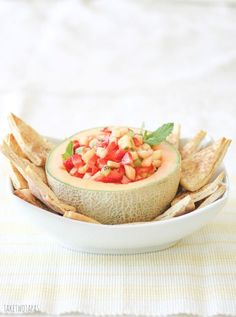 Fruit Salsa with Cinnamon Pita Chip. Try this refreshing fruit salsa with cantaloupe pineapple fresh strawberries kiwi and mint! Cantaloupe Recipes, Radish Recipes, Fruit Recipes, Mexican Food Recipes, Hawaiian Recipes, Strawberry Salsa, Fruit Salsa, Mulberry Recipes, Spagetti Recipe