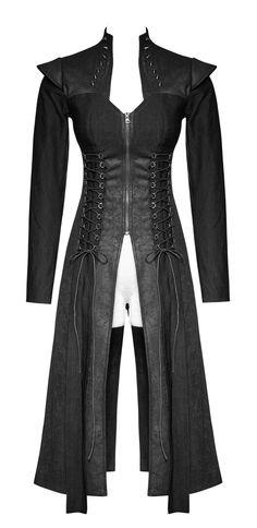 Veste longue noire femme, dos nu, laçages, pics et fermeture éclair, punk rock gothique