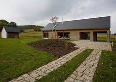 Weekend / Barn House in the Osoblažsko Region / Atelier Czech Republic Weekend House, Solar House, Interesting Buildings, Space Place, Home Fashion, Arches, Pergola, Sidewalk, Home And Garden