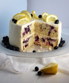 It's the perfect combination of lemon, blueberry, white chocolate and cream cheese - Lemon-Blueberry Cake with White Chocolate Cream Cheese Frosting recipe.