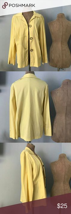 Blazer by Requirements EUC, pastel yellow, great buy! 65% polyester, 33 % cotton and 2 % Spandex. Requirements Jackets & Coats Blazers