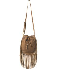 Boho suede leather fringe bag $54