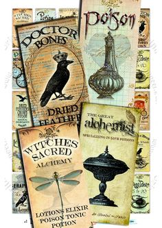 Buy 3 Get 1 Free - Le POisOn - 1 x 2 inches for Domino Art - Download Jpeg and Print  Digital Collage Sheet - bird crow potion poison label tag vintage gothic victorian snake soldered glass pendant  spider crown