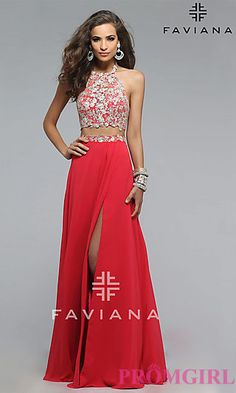 Long Two-Piece Embroidered-Top Faviana Dress  at PromGirl.com