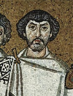 Belisarius may be this bearded figure on the right of Emperor Justinian I in the mosaic in the Church of San Vitale, Ravenna, which celebrates the reconquest of Italy by the Byzantine army under the skillful leadership of Belisarius Ancient Rome, Ancient History, Celebrate Magazine, City Of God, History Encyclopedia, Empire Romain, History Page, Byzantine Art, Byzantine Mosaics
