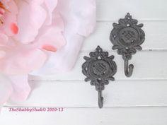 Shabby Chic Iron Hooks / Gray  Wall Hook/ Set of 2 / Cast Iron Hook/ Ornate/French Cottage / Shabby Chic Decor