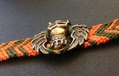 Bracelet brésilien Halloween orange et vert avec breloque tête de mort - bracelet brésilien - 1908design - Fait Maison