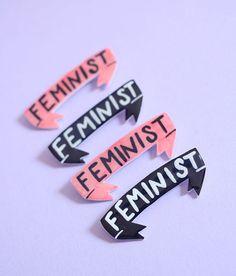 Feministische Banner Brosche / Pin in Pink oder von ModernGirlBlitz