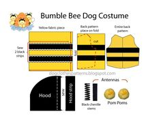 Free Dog Clothes Patterns: Bumble bee dog costume patterns