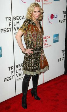 Madonna Gives A Masterlass In Folk Fashion Wearing A Gucci Dress At A Film Premiere, 2008