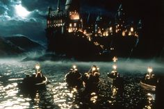 The magical ride and seeing Hogwarts for the first time for Harry, Ron , Hermione and all the other first year students.