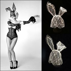 White Lace Crystal Bunny Ears with Veil. by EmpireCoutureCostume