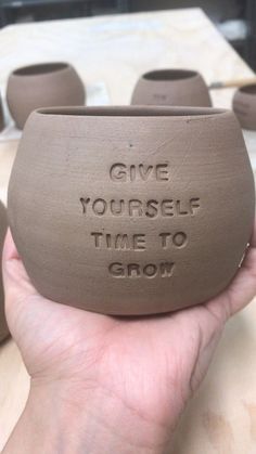 I Make Ceramic Planters With Sassy Botanical Puns Pics) - - Hi, I'm Hannah. I'm a one-woman ceramic business that focusses on handmade planters that feature witty and sassy sayings. I call them Pun Pots. Ceramic Clay, Ceramic Planters, Ceramic Pottery, Pottery Art, Slab Pottery, Thrown Pottery, Pottery Studio, Ceramic Bowls, Porcelain Ceramic
