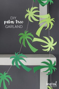 Luau DIY Palm Tree Garland // Party in Paradise via Hawai Party, Aloha Party, Hawaiian Luau Party, Hawaiian Birthday, Hawaiian Theme, Tiki Party, Luau Birthday, Birthday Parties, Flamingo Party