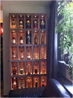 Whiskey display cabinet for Stephen's study Diy Home Bar, Modern Home Bar, Bars For Home, Whiskey Lounge, Whiskey Room, Bourbon Bar, Whisky Bar, Basement Bar Designs, Home Bar Designs